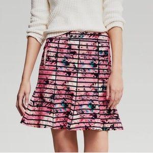 Banana Republic stripe floral ruffle mini skirt